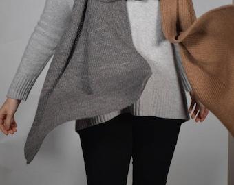 Fine alpaca scarf fawn/Grey