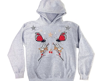 Embroidered Butterflies Cherries Stars and Dice Hoodie | Edgy Grunge 2000s one of a kind