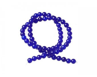 Agate beads 60 natural 6mm Navy Blue