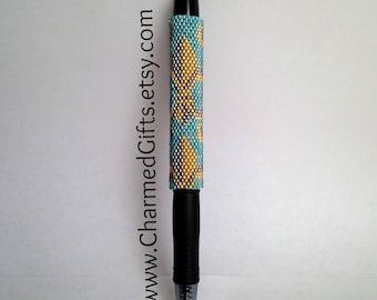 Pen with Beaded Sleeve Cover - Reusable - Fleur De Lis