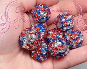 20mm Red, Silver and Blue Dots Rhinestone Beads Qty 8, Chunky Beads, Bubblegum Beads, Gumball Beads, Chunky Jewelry Beads, DIY Jewelry