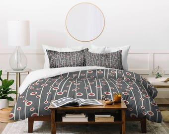 Duvet Cover //Home Decor // Bedding // Twin, Queen, King Sizes // Geometric Duvet // Bedroom // Berry Branch Design // Gray Duvet // Dots