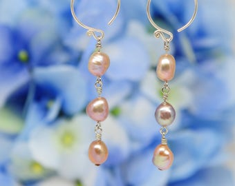 rose gold baroque pearl earrings, dangle earrings, sterling silver hooks and pins
