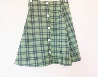Green Plaid Mini Skirt Vintage Button Up High Waisted Mini Skirt Women's Vintage Green Checkered Skirt Ladies Small Vintage Plaid Skirt