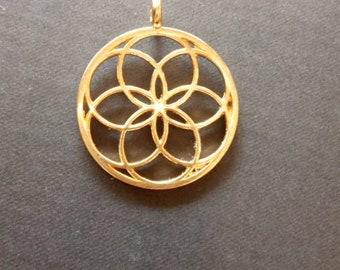 Sacred geometry pendant. Seed of life pendant. Gold tone seed of life pendant. 30mm seed of life charm.