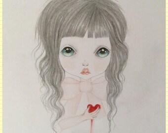 Original art little vampire lost girl lowbrow fantasy art