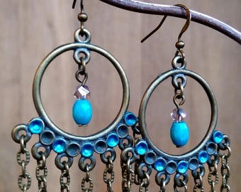 Pair of bronze and blue Bohemian earrings.