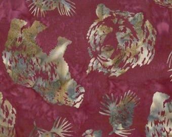 Hoffman Fabrics Ruby Red Grizzly Bear Bali Batik Fabric N2908-143-Ruby