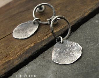 form017 collection - 100% Ag - earrings, raw sterling silver stud earrings, oxidized silver, stud earrings,