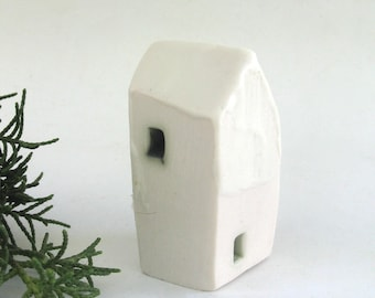 hand built porcelain house  ...   minimalist modern   ...  tiny ceramic house