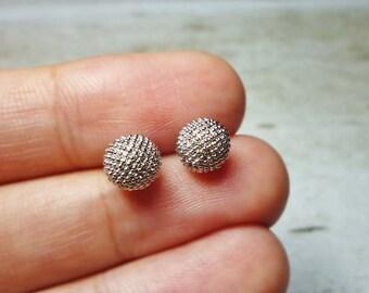 Silver Textured Ball Stud Earrings, Dainty Earrings