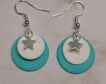 Turquoise earrings polymer clay and Silver Star charm