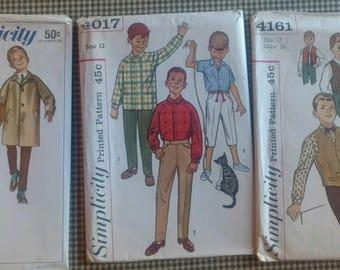 1960's Vintage Boys Coat, pants and shirt patterns