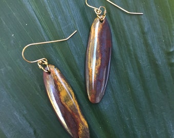 Iron and Tiger's Eye Stone Earrings / Unique Stone Earrings / Gold Tiger's Eye Earrings