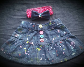 Splatter Painted Jeans- Distressed Ripped Jeans- Shorts- Skirts- Baby Girl Jeans- Baby Boy Jeans- Newborn-Infant- Toddler- Kids Fashion