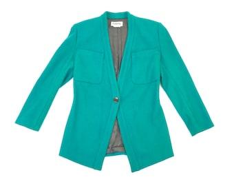 Vintage Teal Wool Long Sleeve Blazer, M