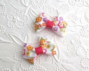 """Floral Hair Bows, Pigtail Bow Clips, Tiny Baby Hair Bows, Toddler Hair Clips, Hair Bows, 2"""" Hair Bows, Baby Girl Hair Bows"""