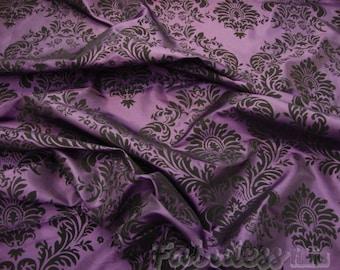 Plum Taffeta Black Flocking Damas fabric per yard