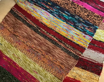 Handwoven rag rug, Rag Rug Runner, handwoven runner, boho handwoven rug, handwoven kids rug, ethnic rug, recycled sari, Sari rug