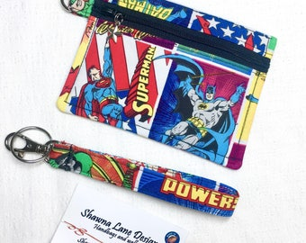 DC Comics zipper pouch, coin purse, keychain with wristlet strap, debit card keeper, money pouch, lip balm holder, affordable fun gifts