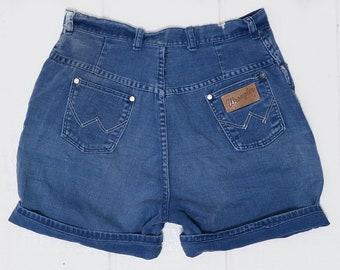 1950s Wrangler Blue Cotton High Waisted Rockabilly Jean Shorts W 29