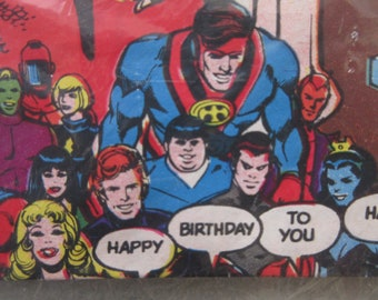 Vintage Wrapping Paper, Super Heroes, Super Hero Birthday Paper, DC Comics Heros, 1980s Child Wrapping Paper, Batman Wonder Woman Superman