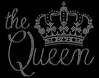 The Queen Crown Tiara Princess Rhinestone Iron On Transfer Hotfix Bling