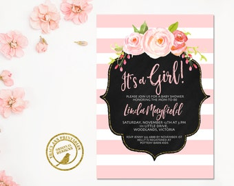 Baby Shower Invitation | It's a Girl Baby Shower invite | Pink Stripe Invitation |  Baby Shower | Printable 0511pink