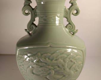 Vintage Chinese Celadon Porcelain Vase with Crane & Bonsai Trees