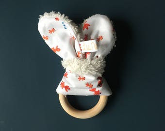 Bunny ears teething ring