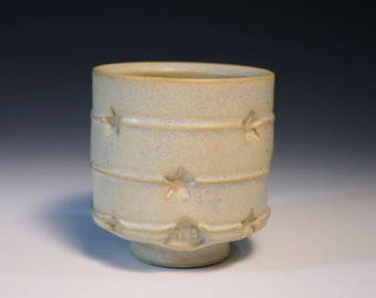 Stars And Stripes, Yellow Yunomi, Stoneware Cup, High Fire