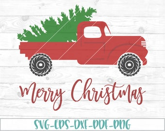 Red Christmas Truck SVG, dxf, cricut, cameo, cut file, christmas svg, vintage truck, winter svg, retro, christmas tree svg, truck with tree