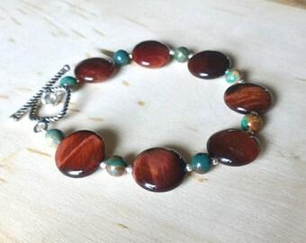 Tiger Eye bracelet, Sterling Silver Bracelet, Jasper Bracelet, Gemstone Bracelet, Coin Beads Bracelet, Holiday Gifts for Her
