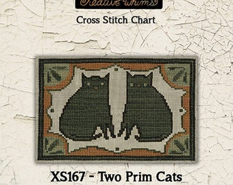 NEW! TERESA KOGUT Two Prim Cats counted cross stitch patterns at thecottageneedle.com Easter 2018 Nashville Market
