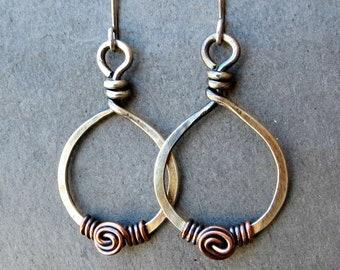 Mixed Metal Earrings Sterling Silver Spiral Earrings, Copper Earrings Wire Wrapped Teardrop Earrings, Eco Friendly Jewelry Gifts for Her