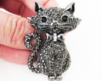 Black Cat Brooch Pin, Cat Brooch, Cat Pin, Cat Gift, Cat Jewellery, Cat Jewelry, Cat Accessory, Crystal Cat Brooch Pin