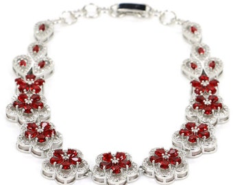 "Sterling Silver Blood Ruby Gemstone Flower Bracelet With AAA CZ Accents Size 7.5""-8"""
