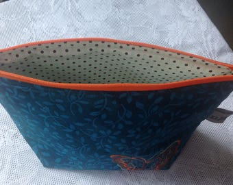 Open wide zipper pouch turquoise variegated thread orange