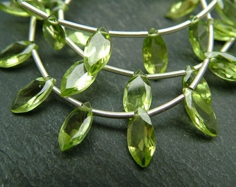 Peridot Marquise Briolettes, AAA, 8mm