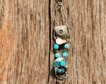 Junk Jewelry assemblage Necklace and pendant - garter - ooak
