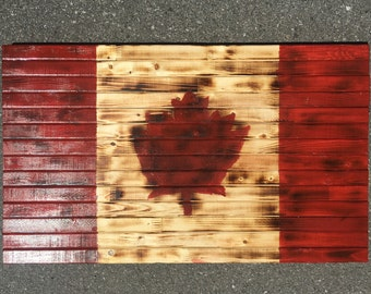 Rustic Handmade Wood Canadian Flag