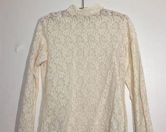 Vintage Mock Neck Ivory Lace Shirt