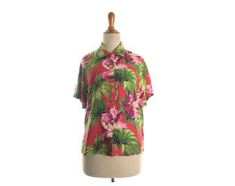 Hawaiian shirt women's, aloha shirt, tiki print, floral red, red blouse, Hawaiian print, vintage, hibiscus, colorful, rayon , small