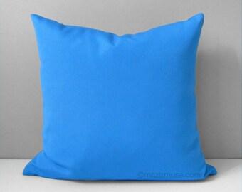 "SALE - Capri Blue Outdoor Pillow Cover, Decorative Pillow Cover, Throw Pillow Cover, Modern Blue Pillow Cover, Sunbrella Cushion Cover 16"""