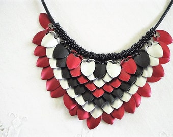 Red, Silver and Black Cleopatra Scale Mail Necklace