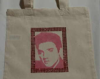 Elvis Presley small shabby chic cotton tote bag
