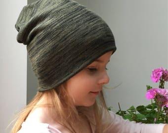 Olive green beanie hat / baby beanie hat / kids knit beanie / kids jersey beanie /  slouchy beanie / hipster baby