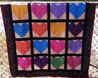 Heart Shape Crib Quilt, Cotton Baby Quilt, Quilt with Hearts, Handmade Quilt, Baby Blanket, Cotton Crib Quilt, Baby Quilt, Heart Quilt