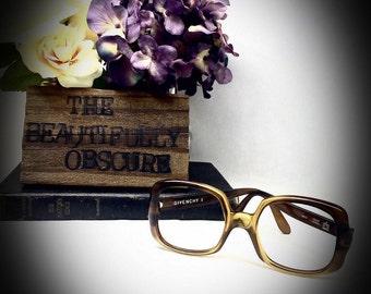 vintage Givenchy eyeglasses frames square 1960s style 1605 brown fade out oversized vintage square frames no lenses