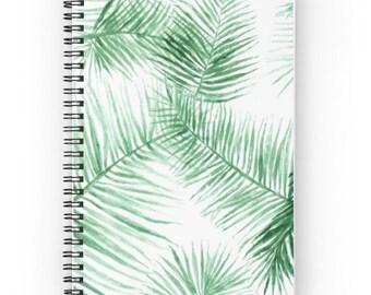 Palm Leaf Notebook, botanical notebook, spiral notebook, palm leaf journal, palm leaves, tropical leaf, leaves notebook, leaves journal